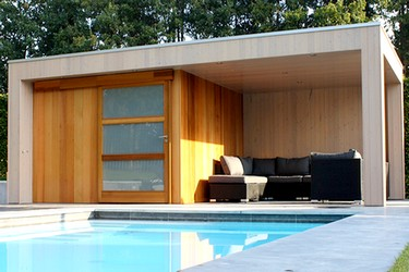 pool houses space wood. Black Bedroom Furniture Sets. Home Design Ideas