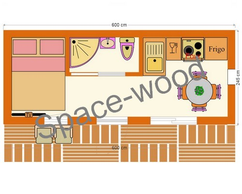 Plan studio bungalow 6.00 x 2.45 m (B6001)