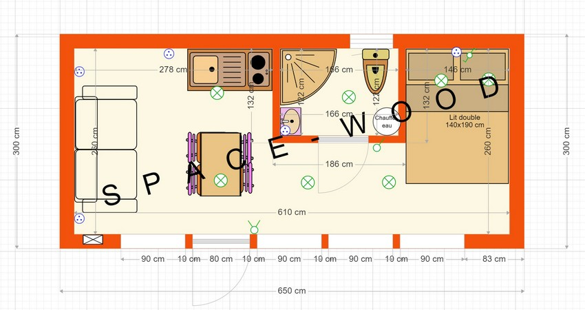 Plan studio bungalow 6.50 x 3.00 m (B6501)