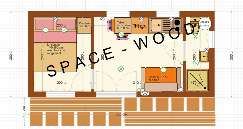 Plan studio bungalow 6.50 x 3.00 m (B6503)