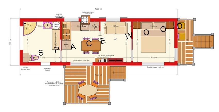 Plan studio bungalow 10.00 x 3.00 m (B10001)