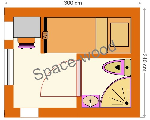 Plan studio bungalow 3.00 x 2.40 m (B3001)