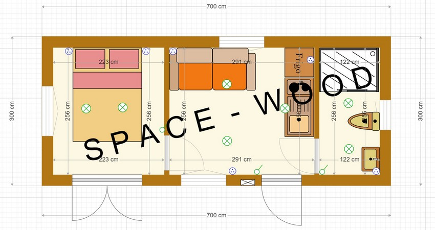Plan studio bungalow 7.00 x 3.00 m (B7001)