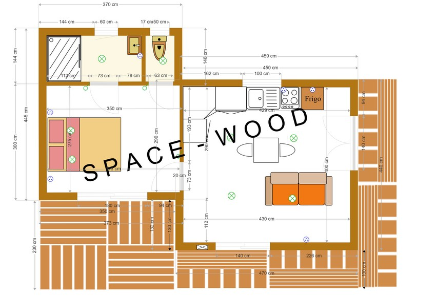 Plan studio bungalow 8.20 x 4.40 m (B8201)