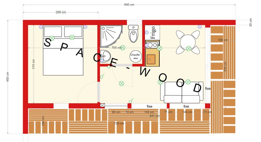Plan studio bungalow 8.40 x 4.50 m (B8401)