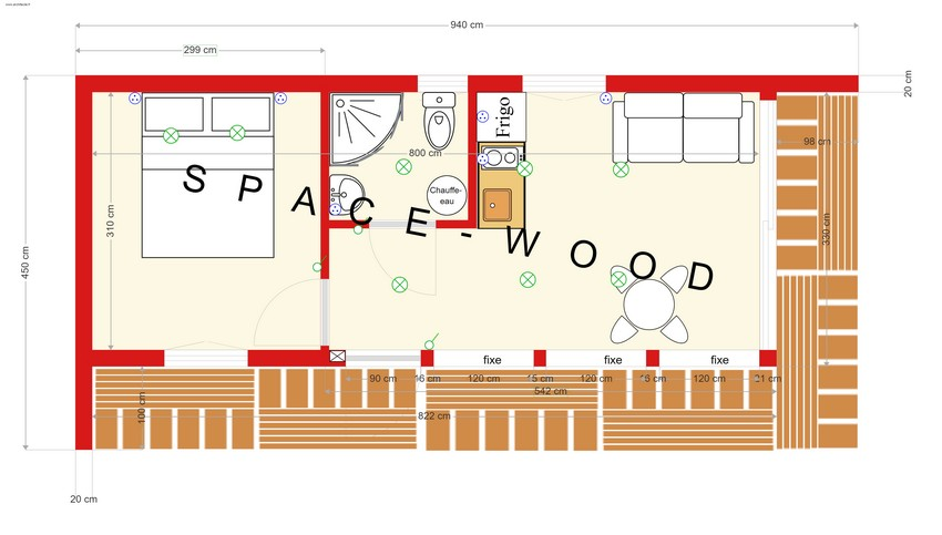 Plan studio bungalow 9.40 x 4.50 m (B9401)