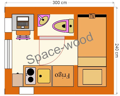 Plan studio bungalow 3.00 x 2.40 m (B3002)