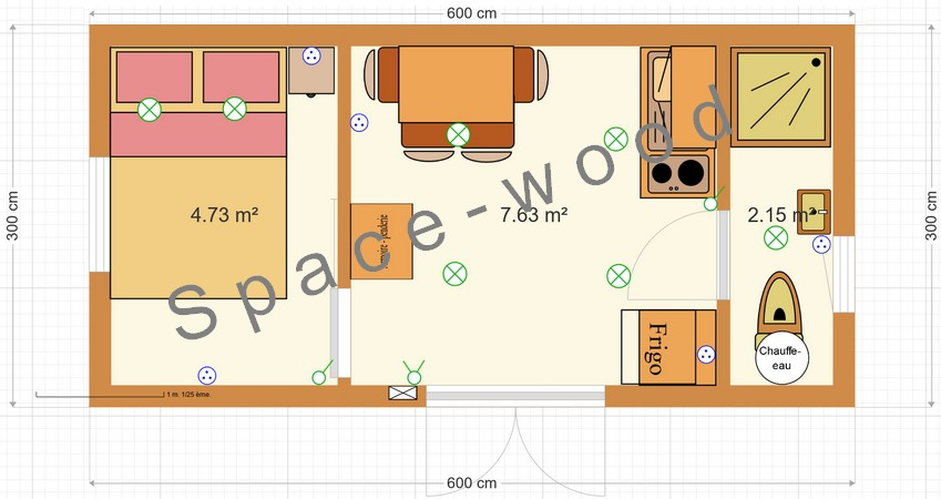 Plan studio bungalow 6.00 x 3.00 m (B6002)