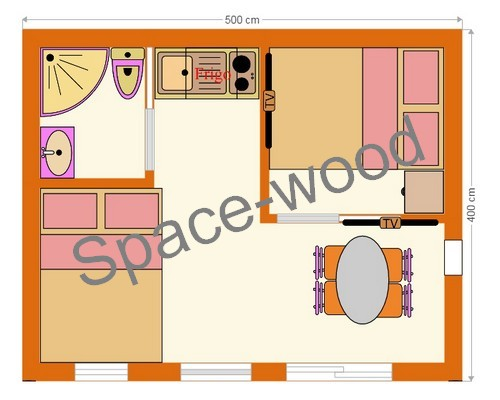 Plan studio bungalow 5.00 x 4.00 m (B2503)