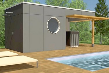Pool house en bois SOFIA 10 en version 5 m - 6 m - 7 m - 8 m x 2.50 m - 3 m - 4 m