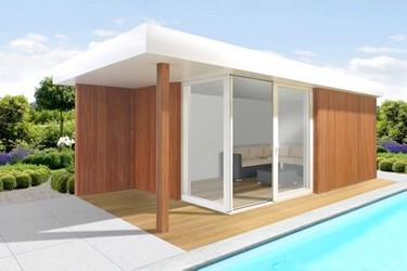 Pool house en bois SOFIA 6 en version 5 m - 6 m - 7 m - 8 m x 2.50 m - 3 m - 4 m