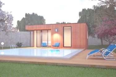 Pool house en bois SOFIA 9 en version 5 m - 6 m - 7 m - 8 m x 2.50 m - 3 m - 4 m